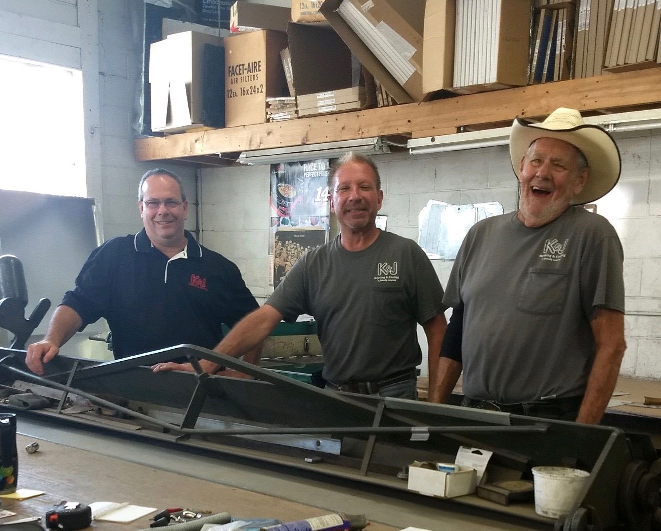 Kip, Jeff and Bob in K & J Heating and Cooling's custom sheet metal shop