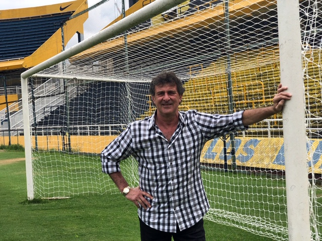 "Kempes at the Estadio Gigante de Arroyito in Rosario, Argentina filming his documentary ""Ruta De Kempes."""