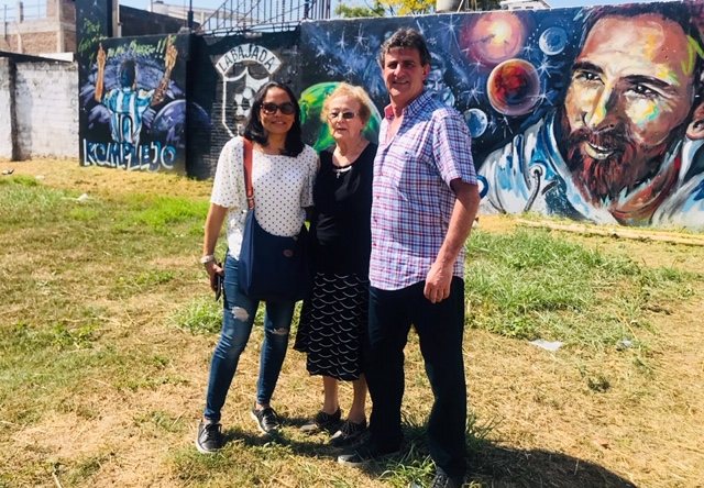 Kempes' wife, Julia Kempes (left) and mom Eglis Kempes (middle) at the location where Messi first learned to play soccer in Rosario, Argentina.