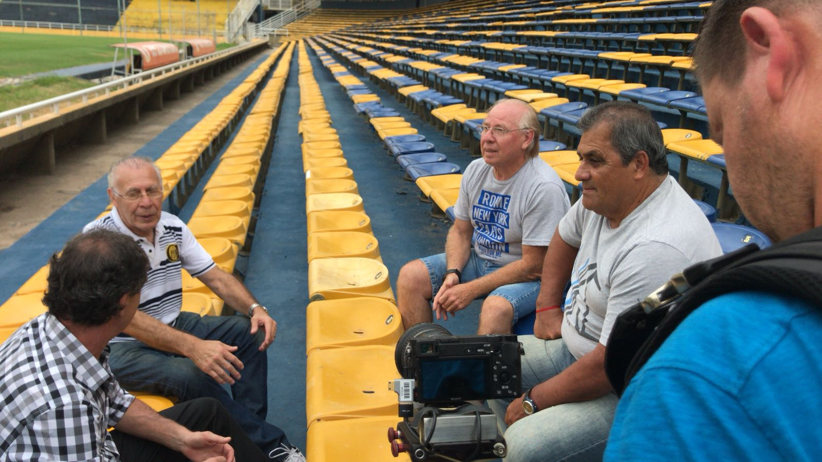 The team filming Kempes' documentary.