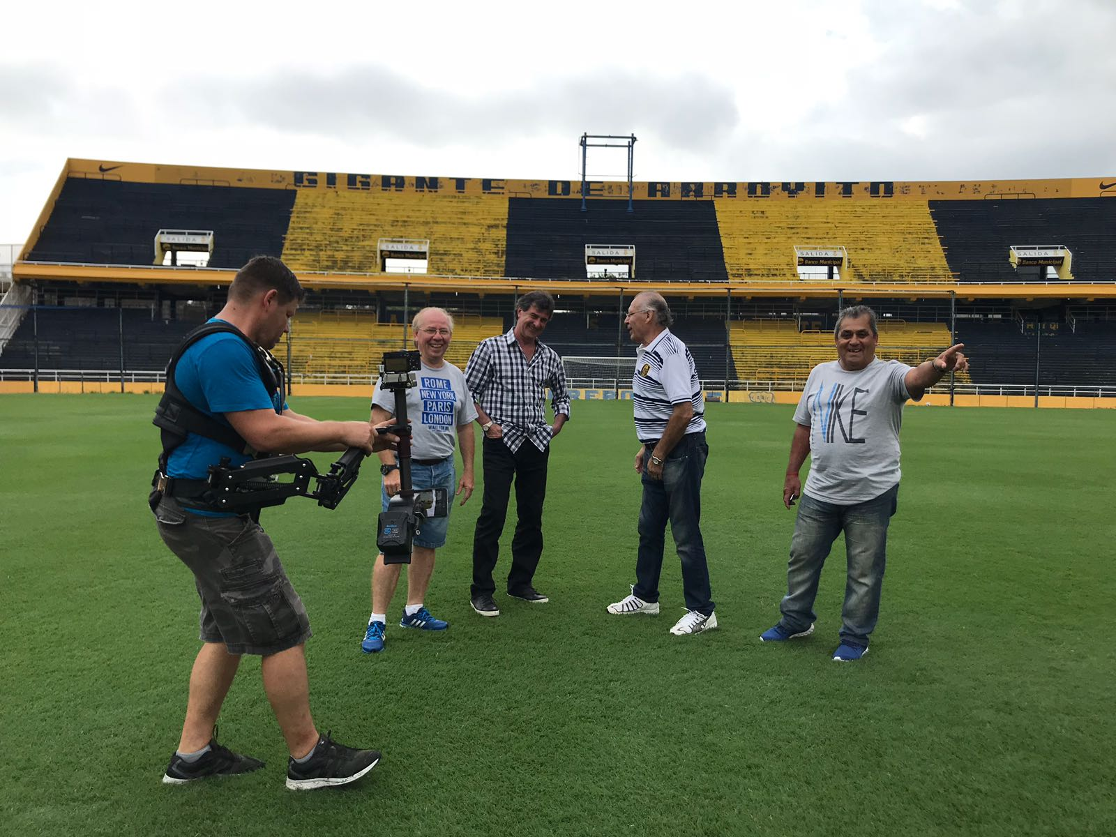 The team filming Mario Kempes' new documentary.