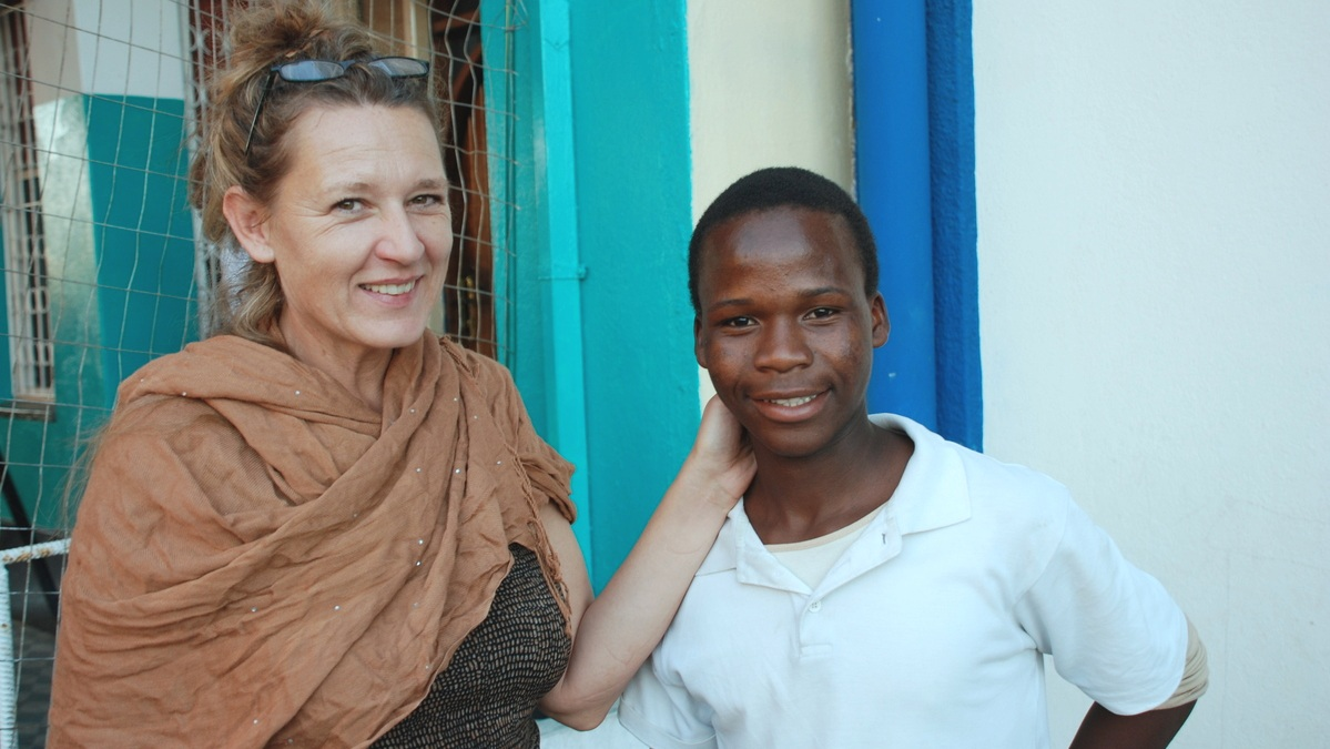 Barbara with one of the students in Beira