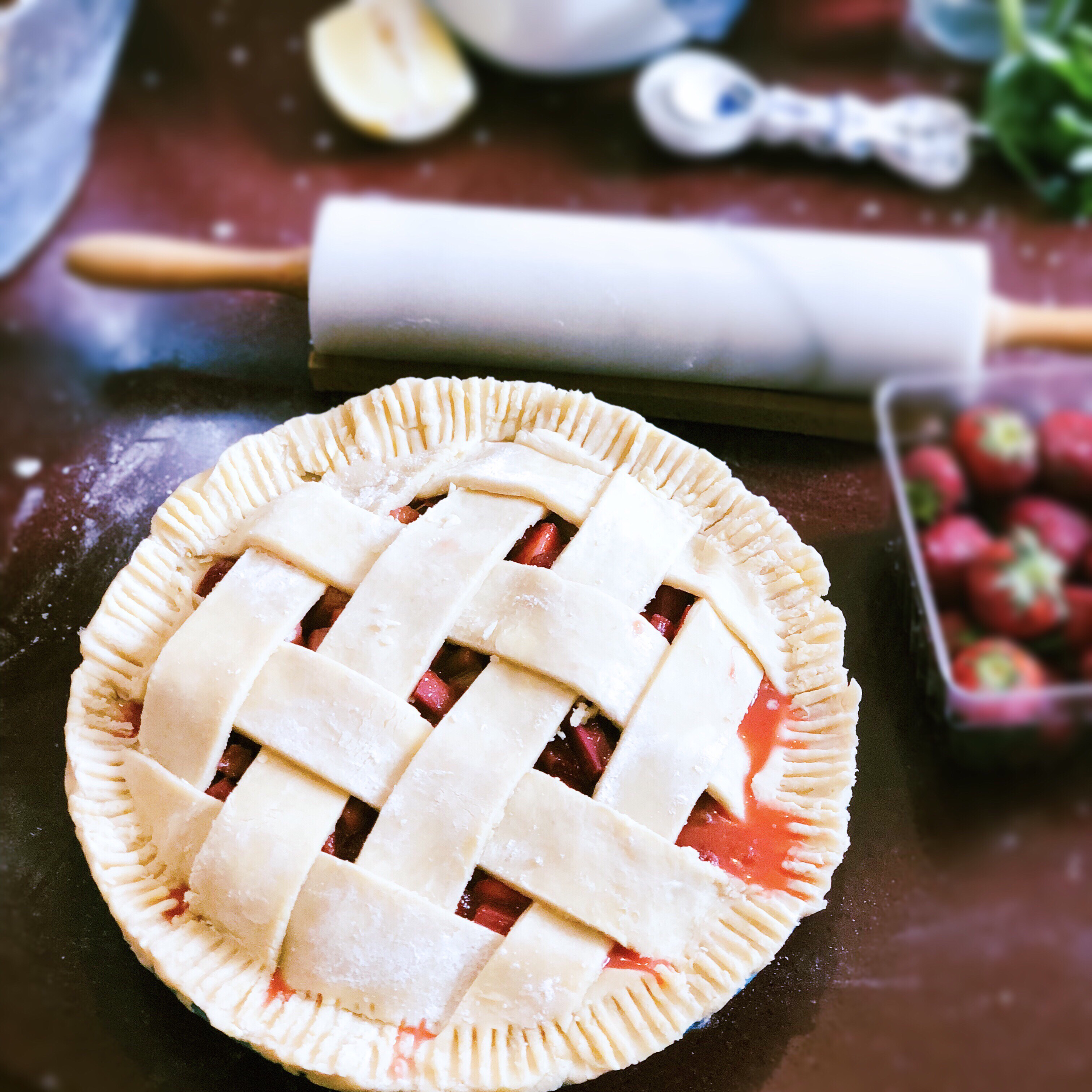 Strawberry Rhubarb Pie - Time: 1 hour prep30 minutes freezer1 hour in the oven