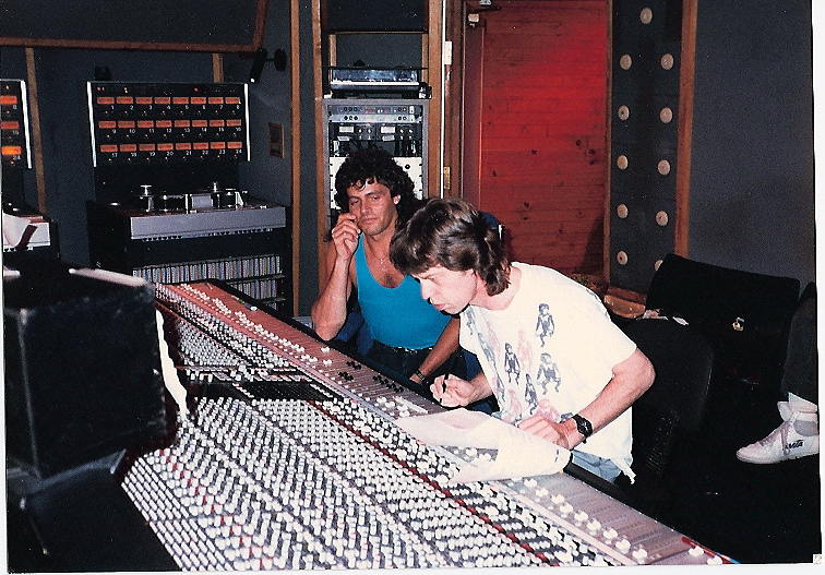 Working in the studio with Mick.