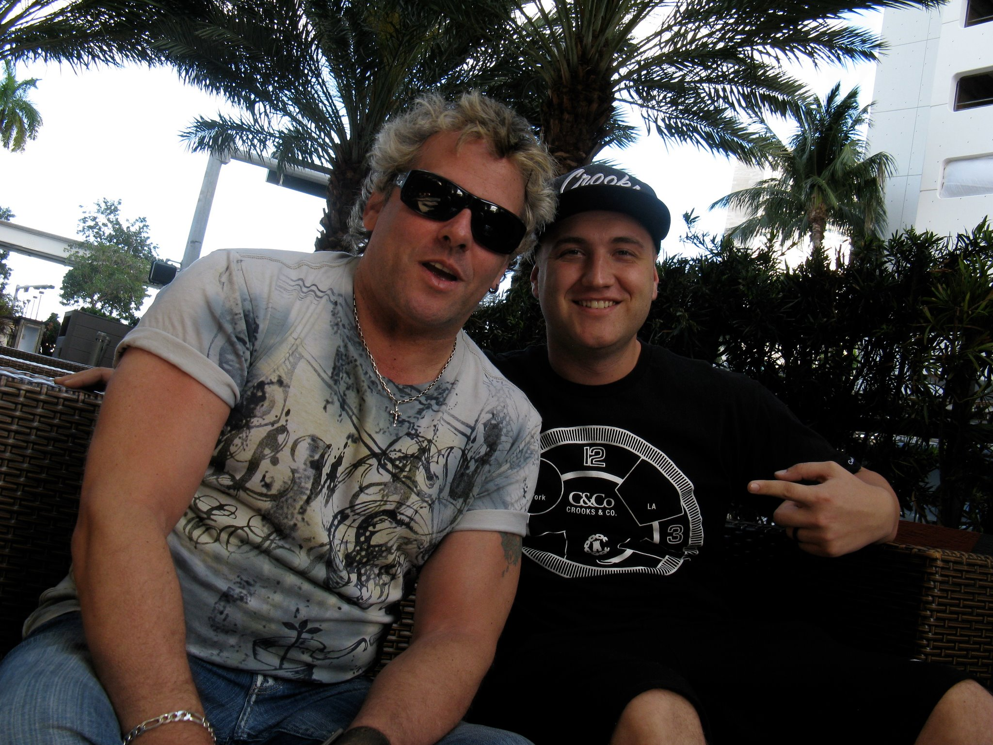 Steve Thompson with Nick Hogangetting ready to DJ at Ultra Music Festival .