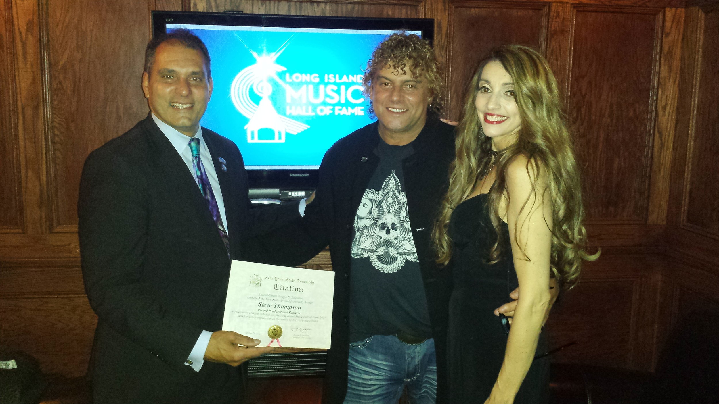 Steve (with wife Joanne) receiving the New York State Assembly Honor For Contributions in the Music industry with Assemblyman Joseph Saladino -Paramount, NY.