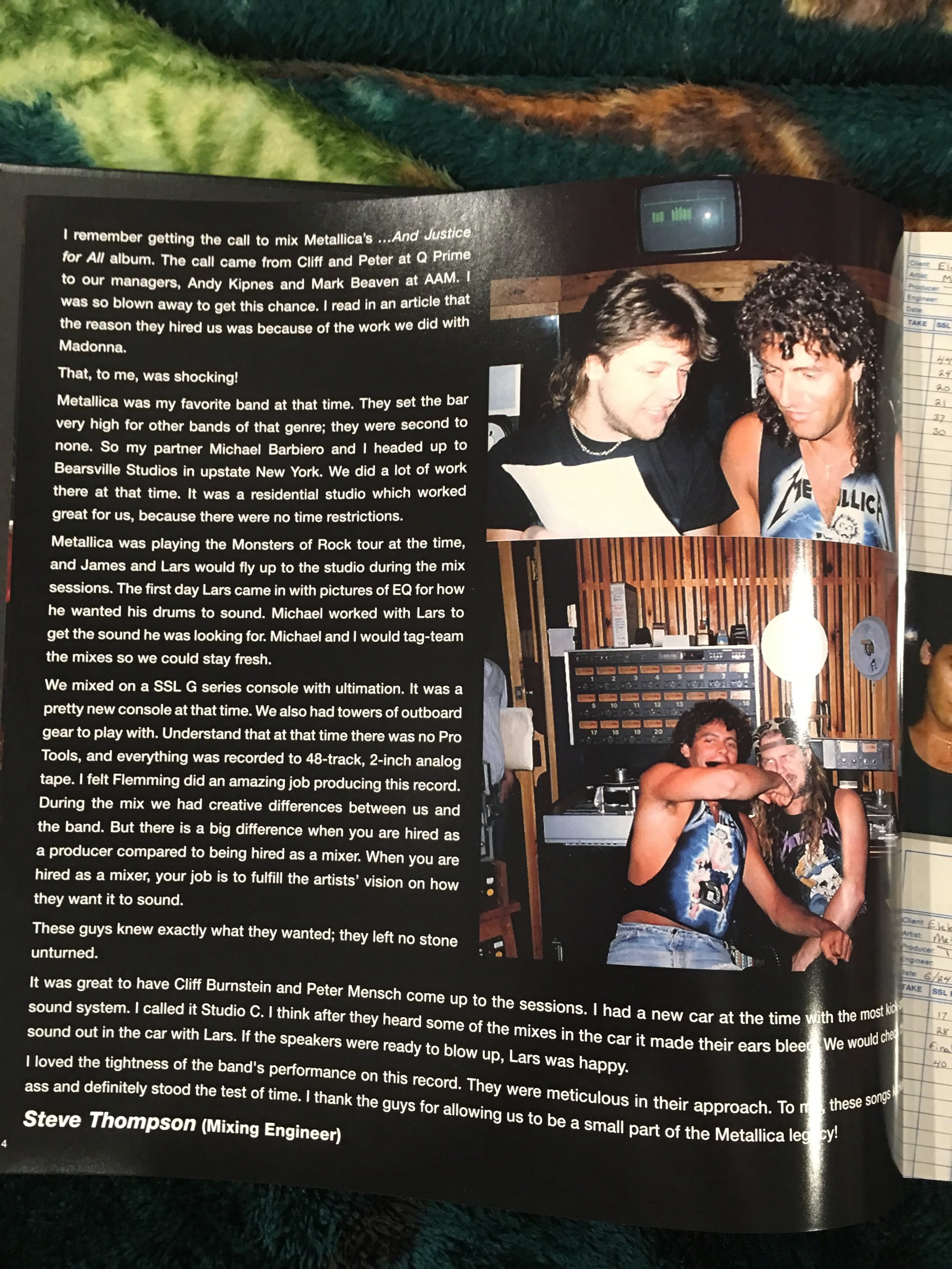 Liner Notes from 'And Justice For All' box set.