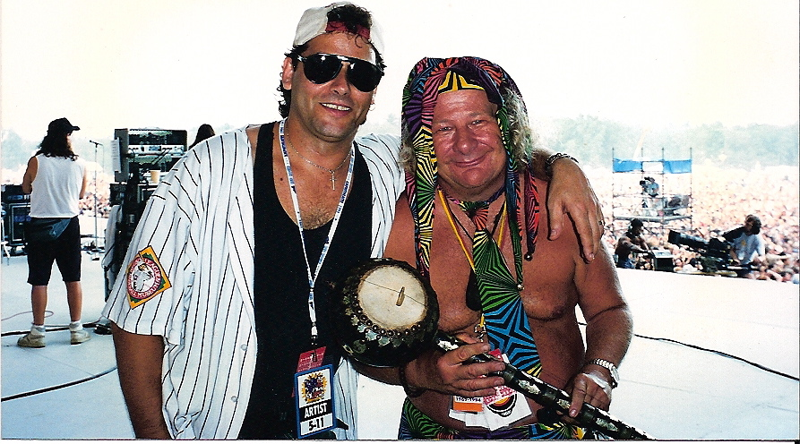 Steve and Wavy Gravy on stage Woodstock 2