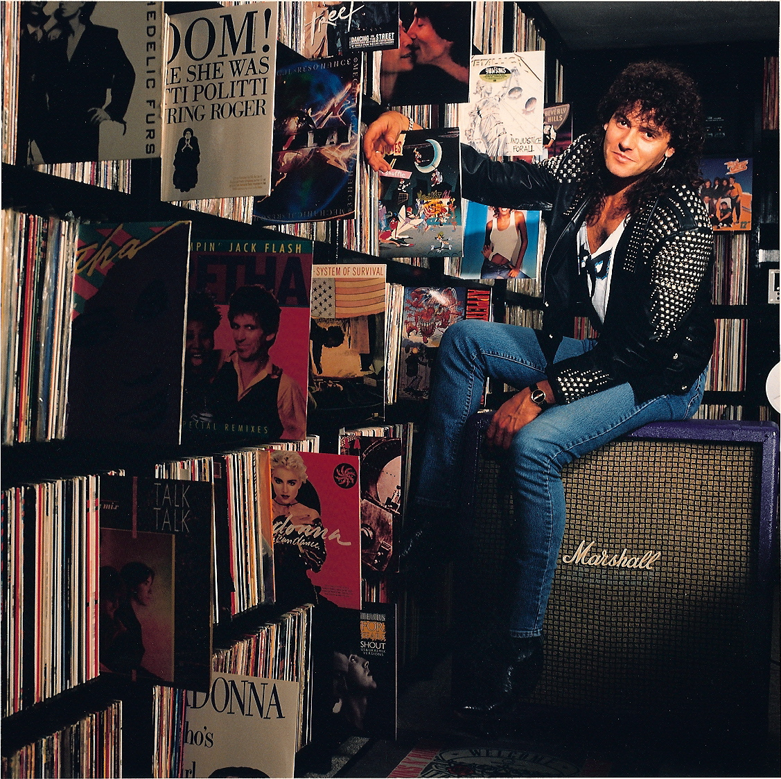 Steve with record collection, NY
