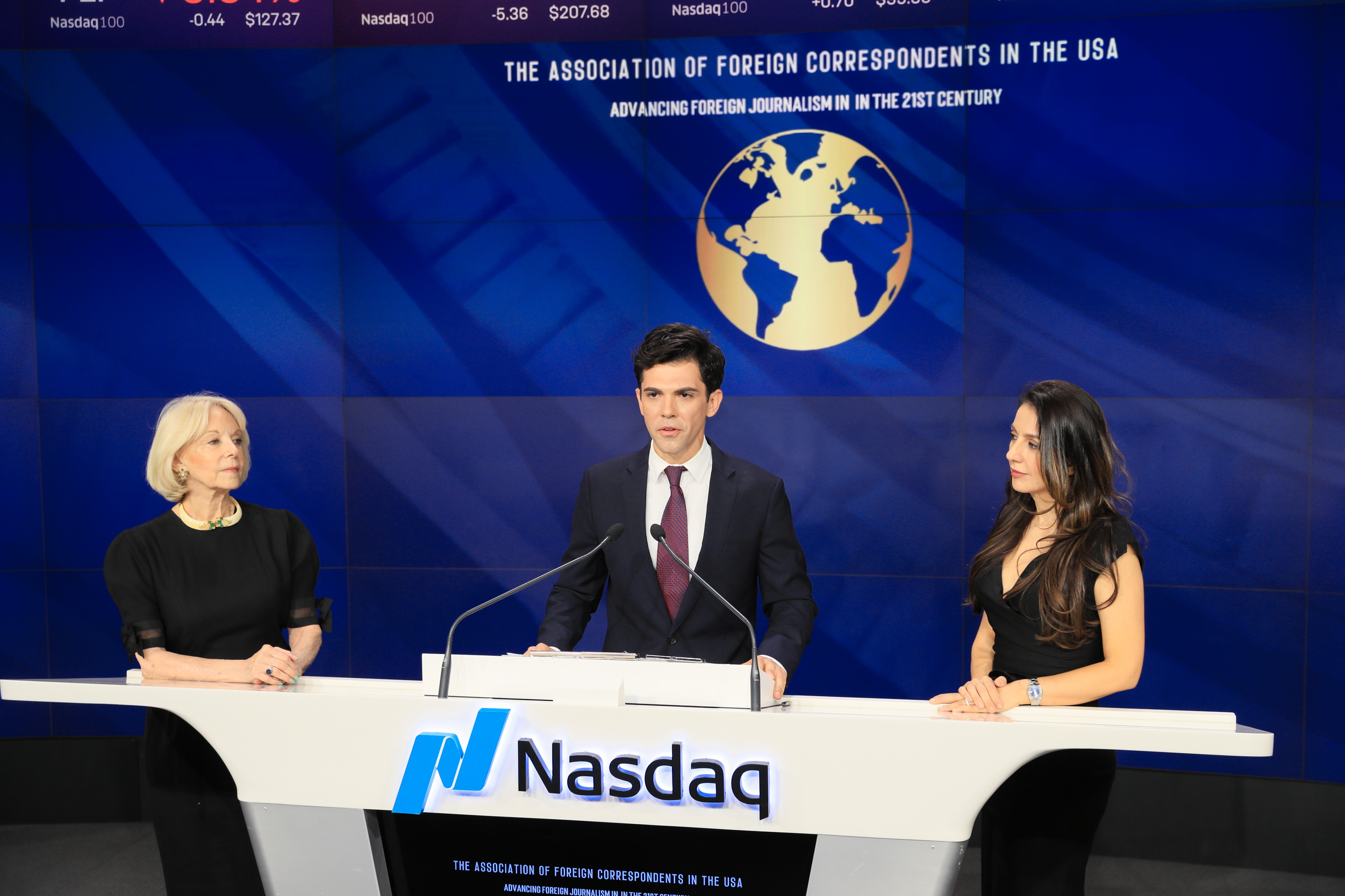 The AFC President, Thanos Dimadis speaks at  Nasdaq Closing Bell Ceremony  representing the Association of Foreign Correspondents.  Watch the video
