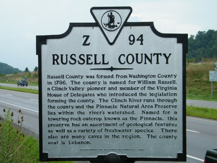 Russell County historic marker. Photo courtesy of markerhistory.com.