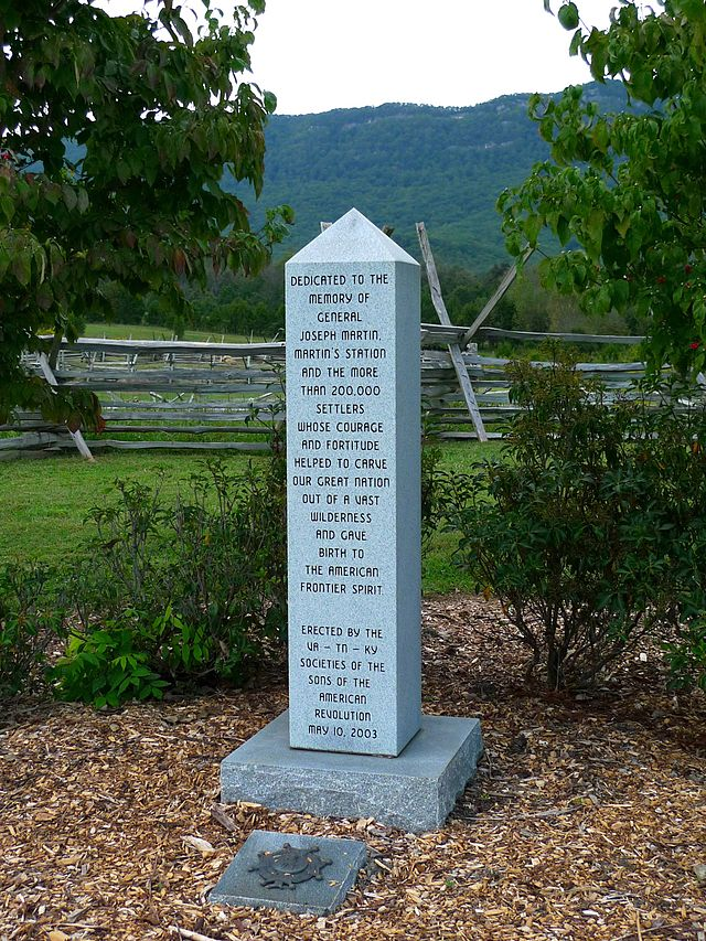 Memorial to General Joseph Martin and settlers at Martin's Station, Virginia. Photograph courtesy of dmott9.
