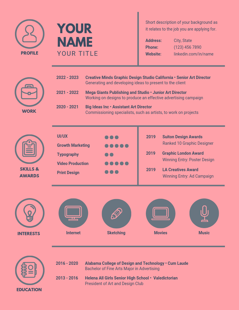 Pink Dark Blue Icons Infographic Resume.png