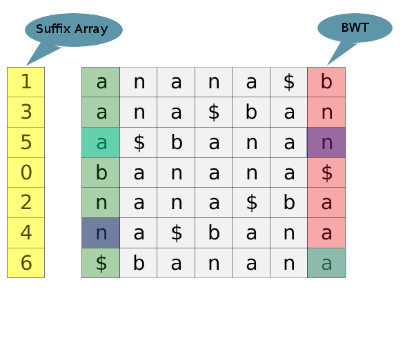 This image shows the BWT transform for banana$.