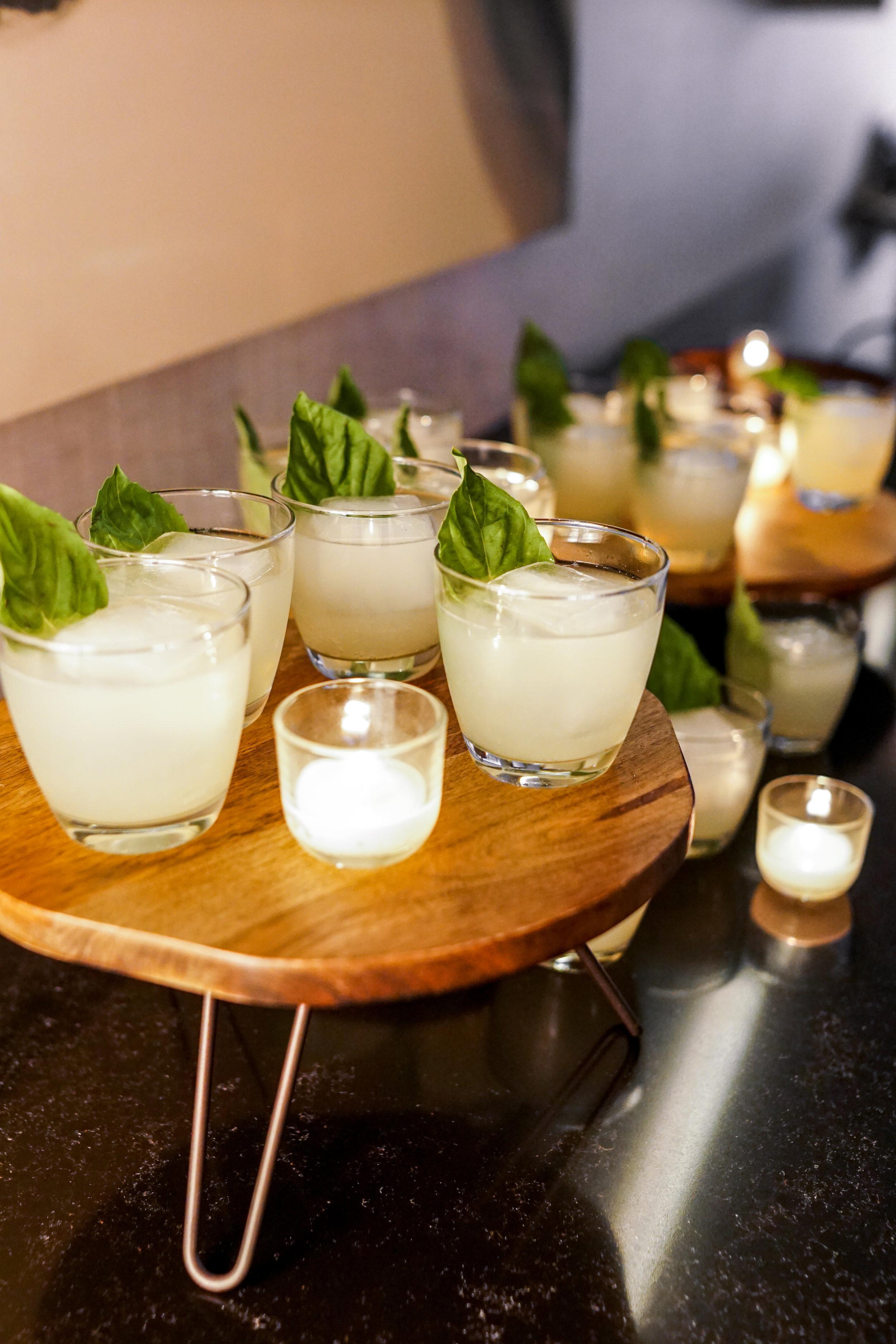 wedding cocktails with basil garnish