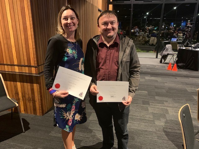 Congratulations to Angela Leonard of Morrison Square and Paul Palmer of Southtec in Morrison Square who were recognised for their community contributions at the Eelco Boswijk Civic Awards 2019 held by Nelson City Council last night.