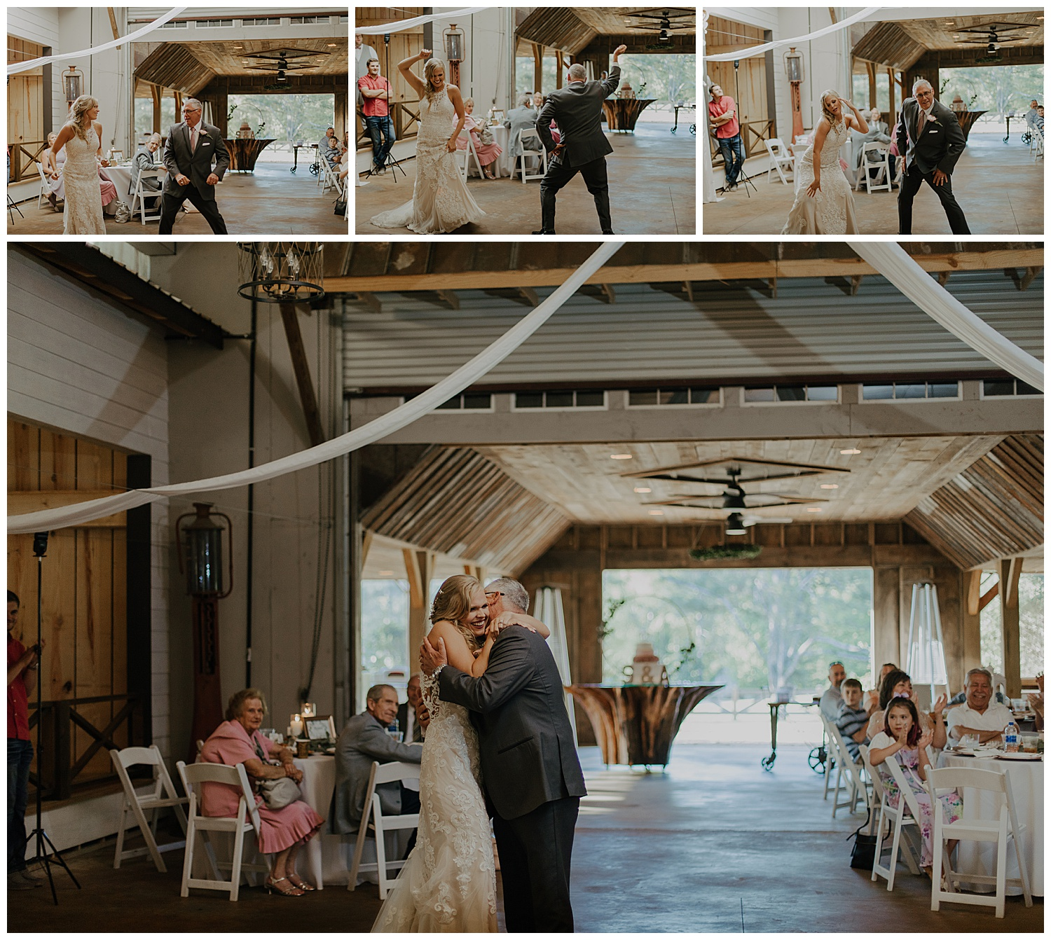 Don & Ashley had the best dance! It started out with a slow song and changed into an upbeat mashup of songs. Ashley and her momma choreographed and taught Don just days before the wedding. There wasn't a single person not laughing in that room!