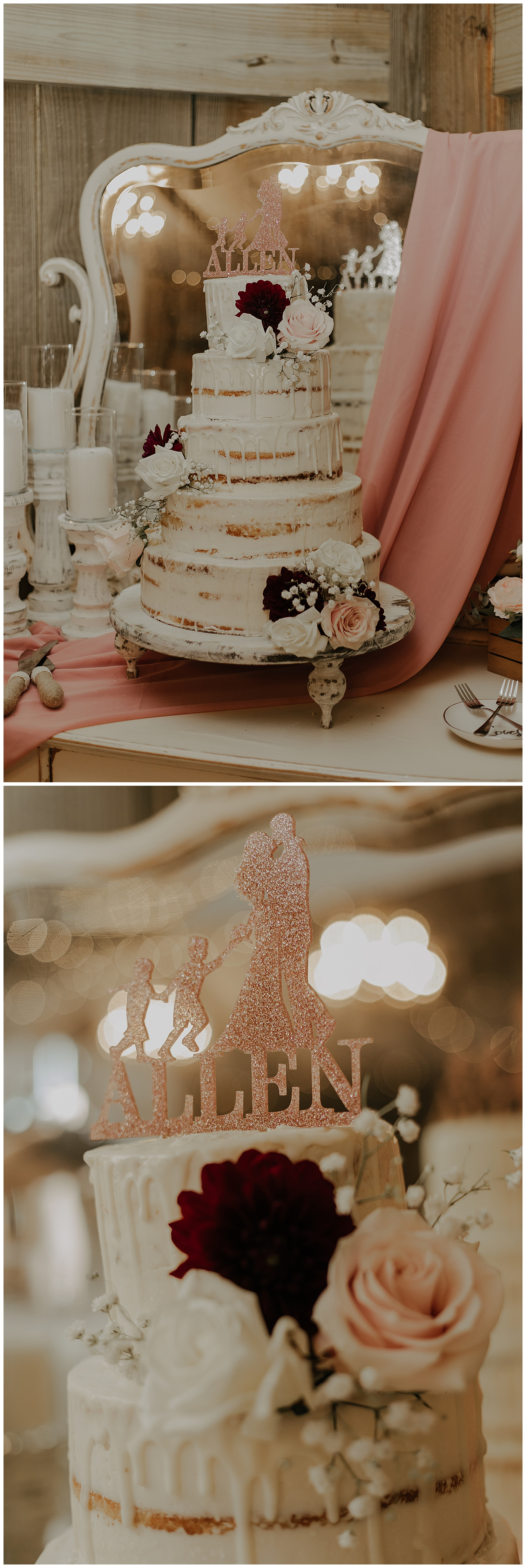 Isn't this the cutest cake topper!! Tater's Cakes did a wonderful job designing this cake. Some thought the hot day melted it perfectly, but we all know it would have looked like a hot mess if that were the case. The cake artist added this touch.