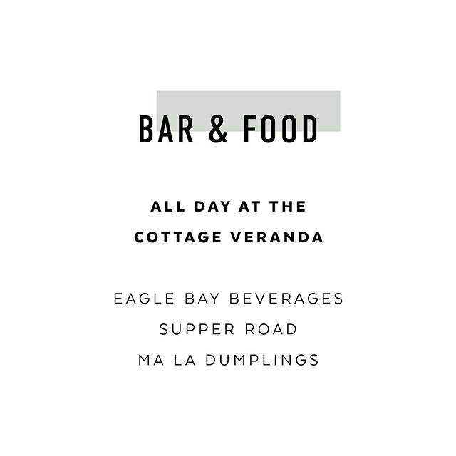 B A R + F O O D  Our Bar will be open all day with a selection of @eaglebaybrewingco beer and wine available for purchase. @supper_road_events and @maladumplings will also be selling some tasty treats throughout the day and you can even find some samples available from @cheeselouisemr @hideandfeast as well as mocktails from @junipereventswa  #welovelove