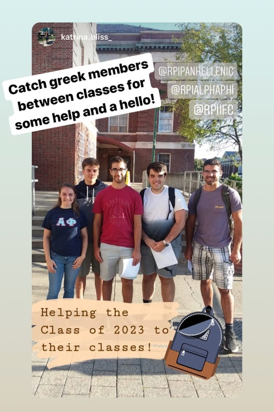 Some Greek members helping freshmen find their classes on Thursday