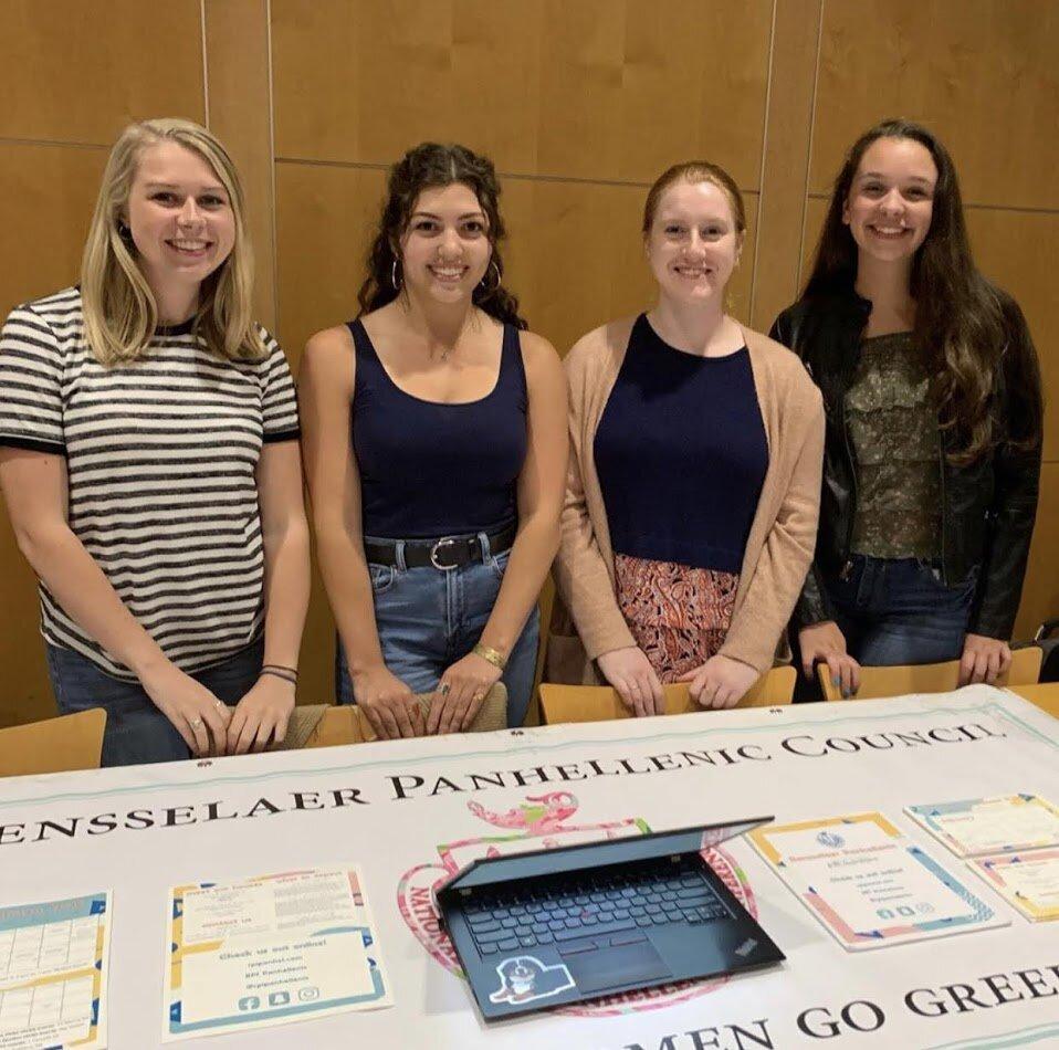 Caroline, Natalie, Katie, and Tori tabling for Panhel.