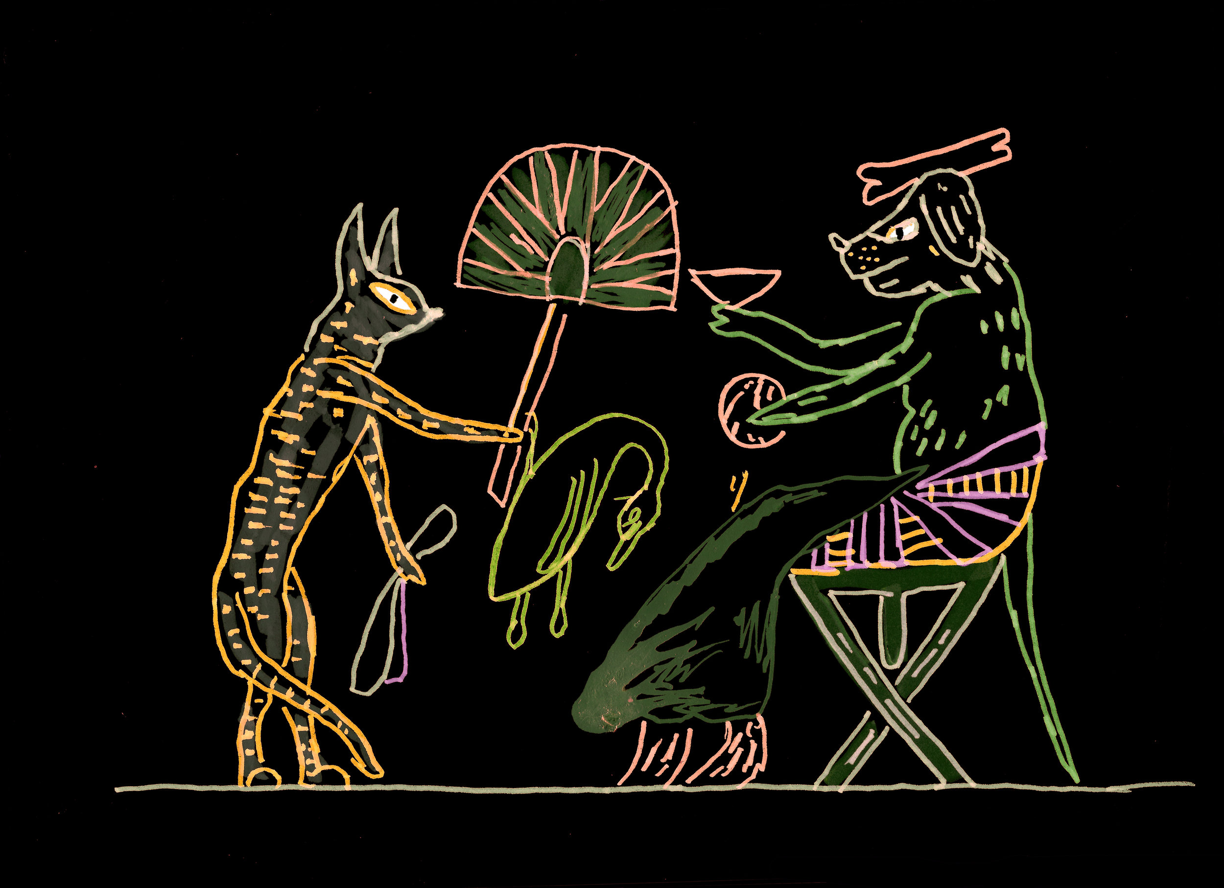 Master Dogs I (after the Satirical Ostraca) , 2017, marker on paper.