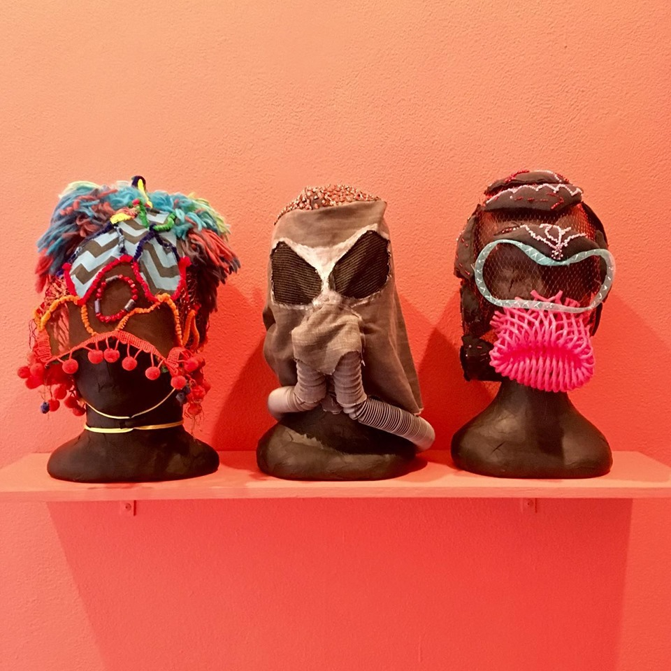 Micromask I, Sox (Grey mask), Micromask IV , mixed media, Fremantle Arts Centre, photo by Astro Morphs.
