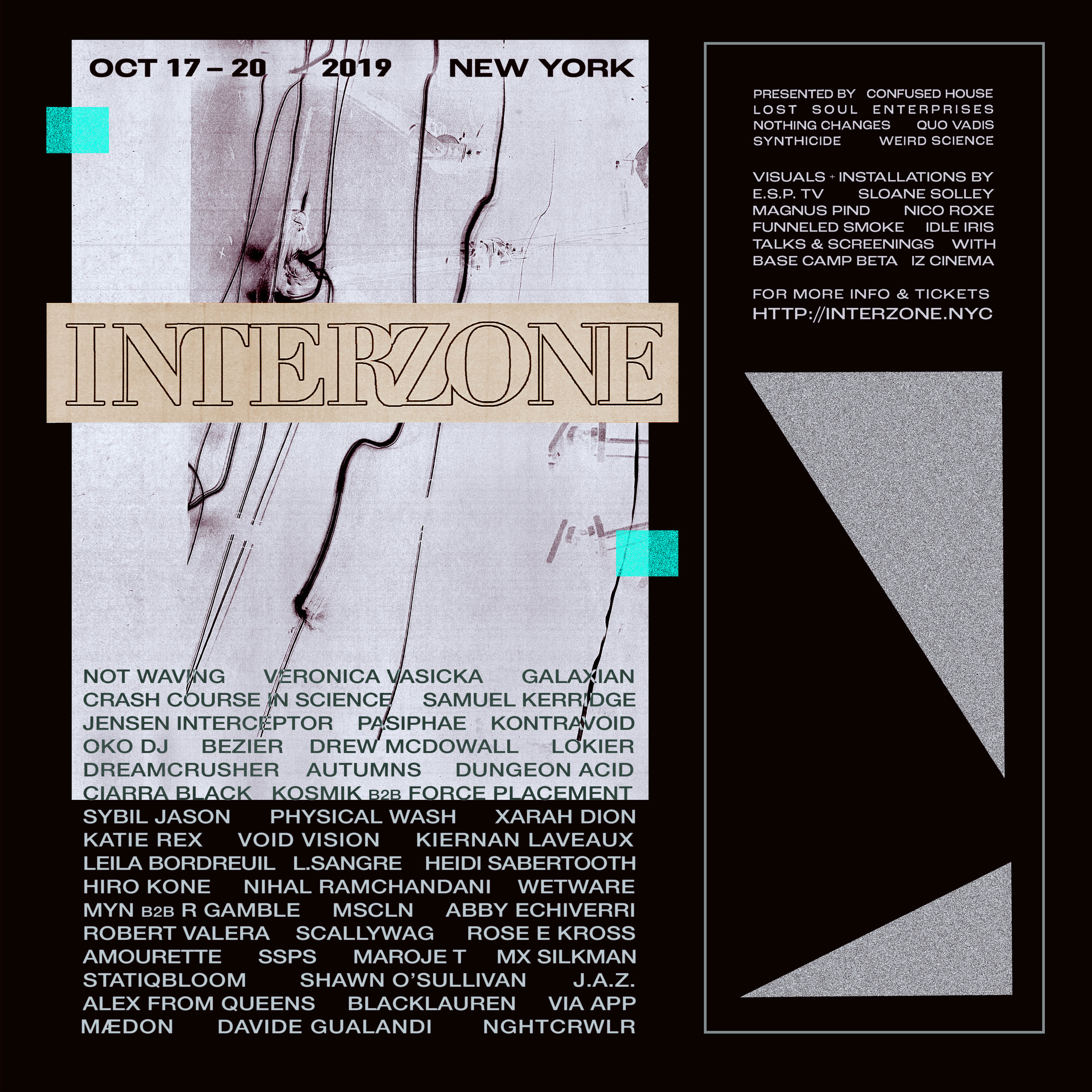 Announcing INTERZONE PHASE TWO including FULL LINEUP  ⁣⁣  More info & passes here:  http://interzone.nyc    Buy individual show tickets:  http://residentadvisor.net/to/Interzone