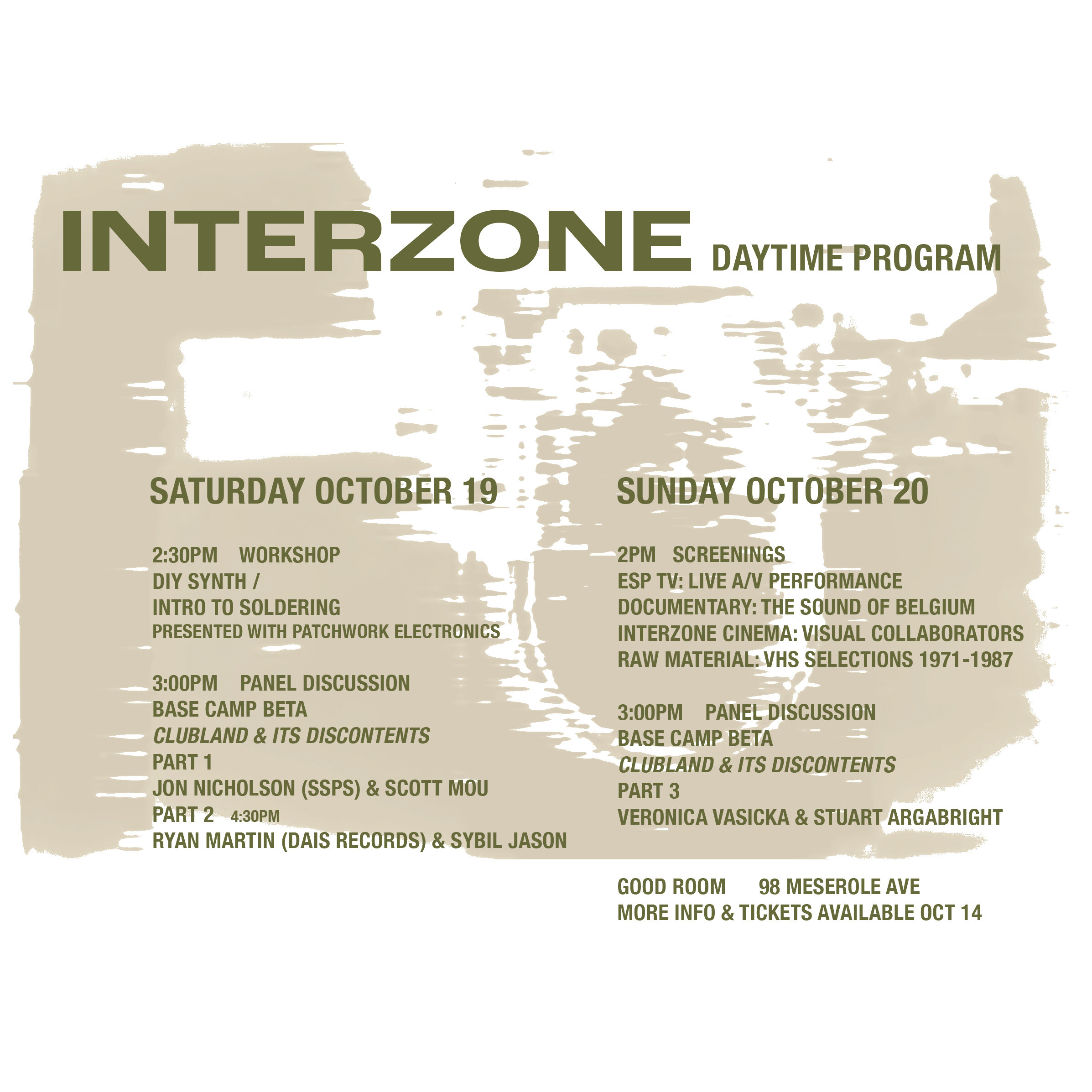 INTERZONE's day programming has arrived! Join us at our Good Room HQ throughout the weekend for documentary screenings, panel discussions and even a DIY synth building workshop all led by our favorite artists and friends. Everything is a $5 suggested donation, or free for pass holders, and open to all. The only exception is for the workshop, which has an extremely limited number of tickets on sale now — and a special discount for pass holders. There will also be Peter Pan donuts & coffee on Saturday! Tickets for the Build Your Own Synth workshop:  https://www.residentadvisor.net/events/1332768  More info on the other events can be found at:  http://www.residentadvisor.net/to/INTERZONE