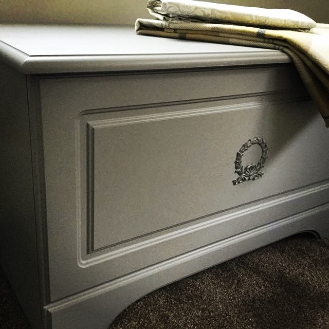 Who doesn't love an #ottoman if you are like me they are needed in every room to hide the clutter #upcycling #upcycledfurniture #generalfinishesmilkpaint #seagullgray #moulding #furniture #hidetheclutter #redcar #shoplocal #justlikehome