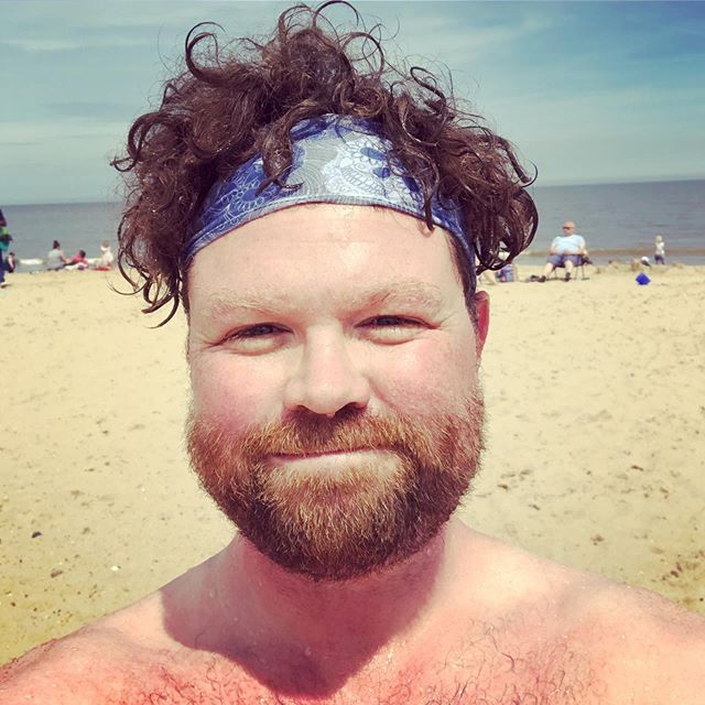 If there's a better cure for the blues than a bracing swim in the freezing sea on a blazing day, I haven't found it yet. How do you folks destress? #beach #authorlife #writersofinstagram #authorsofinstagram #anxiety #stress #beachbum #openwaterswim
