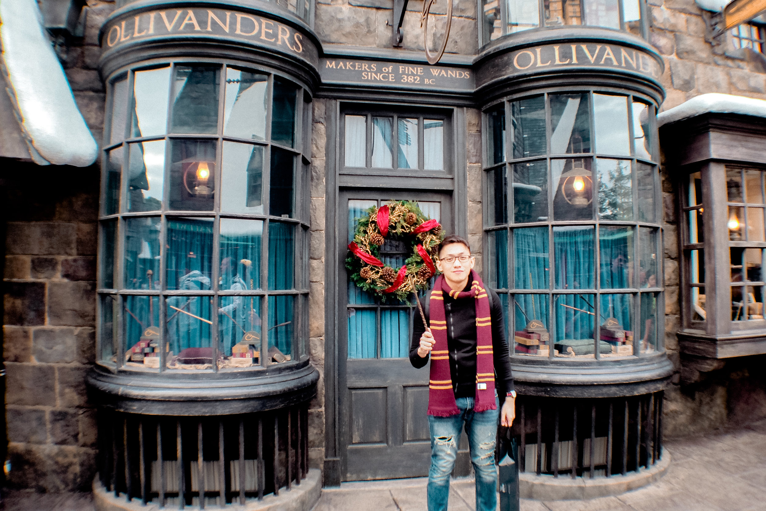 Ollivanders, where wizards and witches get their first wands. I know we are muggles, but it's just apt that we got ours here, too! Haha! This place is also an attraction, you'll experience here how Harry got his first wand. Complete with special effects!