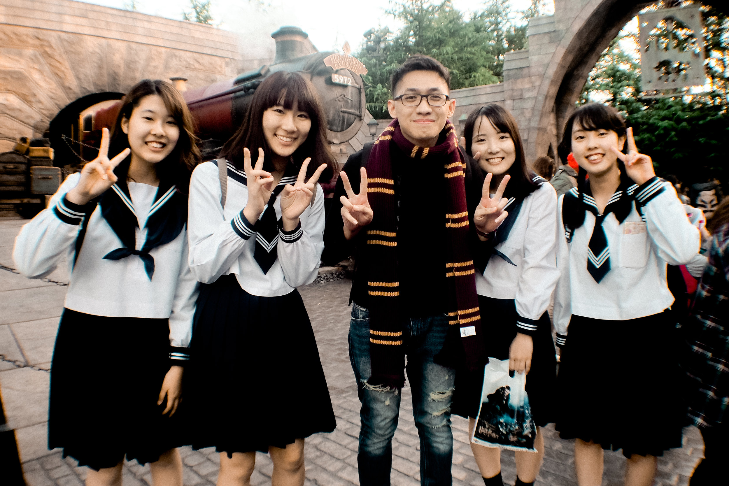 Met some kawaii Japanese high school girls on our way out of the Wizarding World.