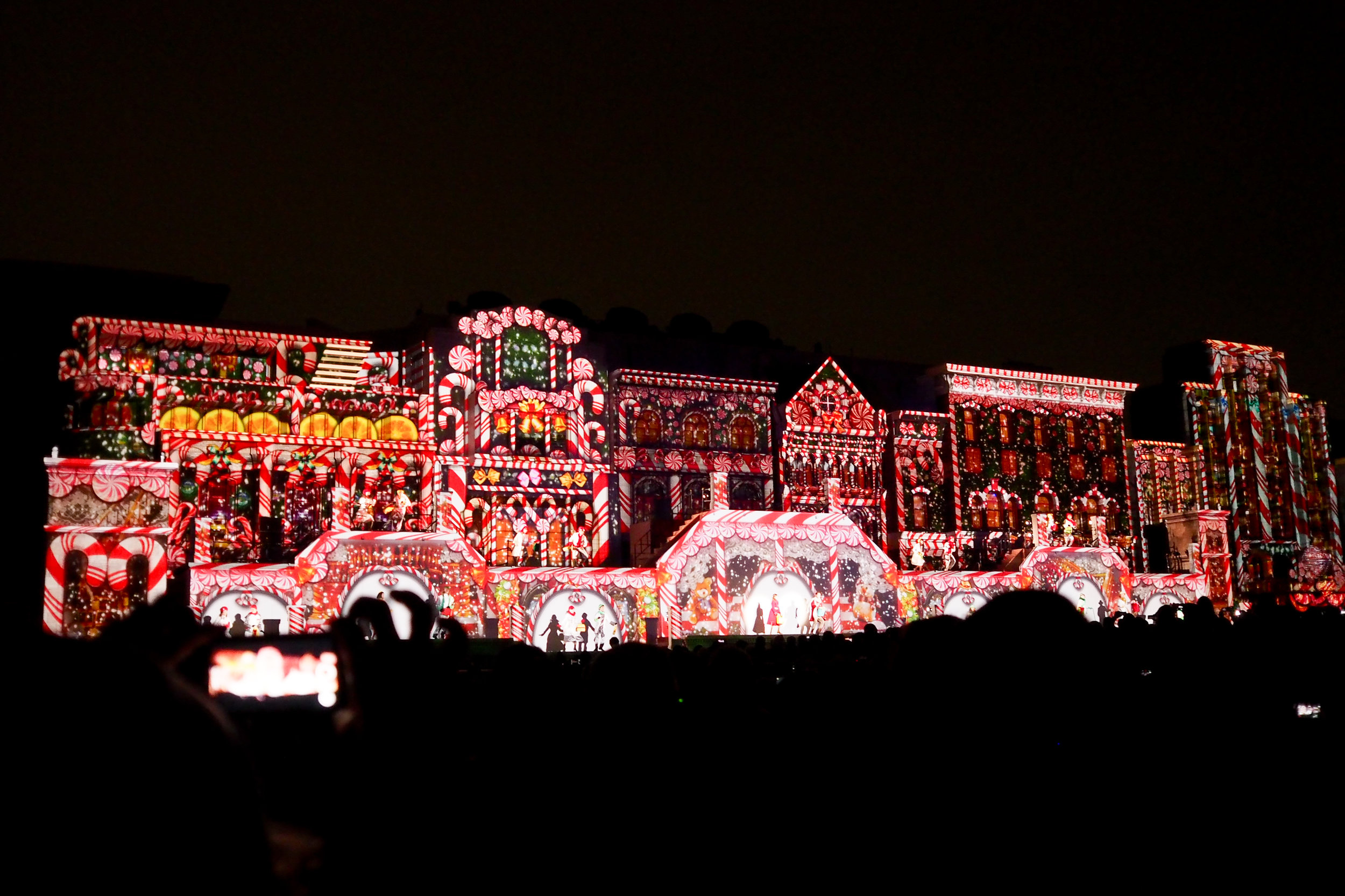 This Christmas-themed light show is called the Universal Wonder Christmas.