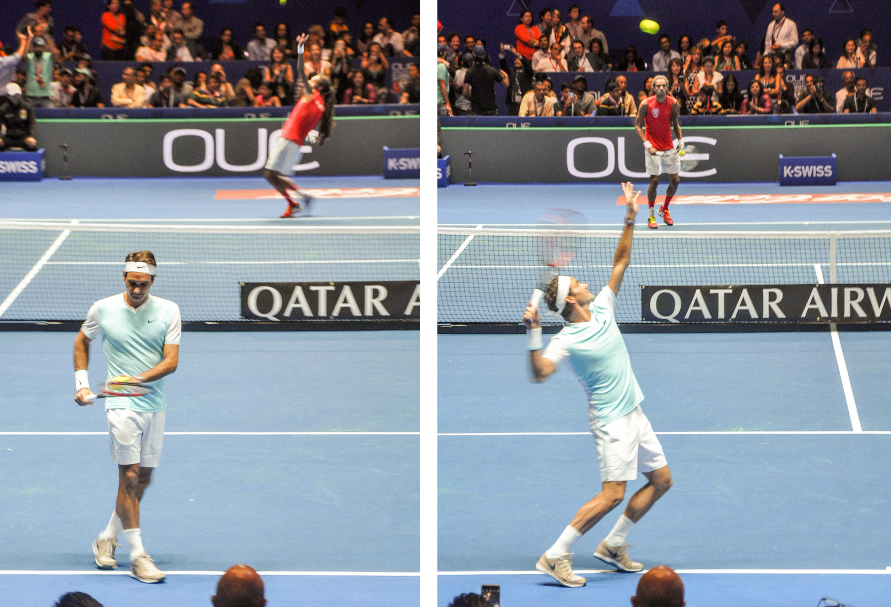 Roger Federer warming up. JUST LOOK AT THAT FORM!