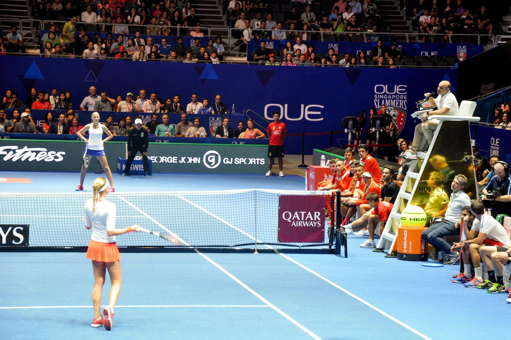Women's singles match between Kristina Mladenovic and Karolina Pliskova