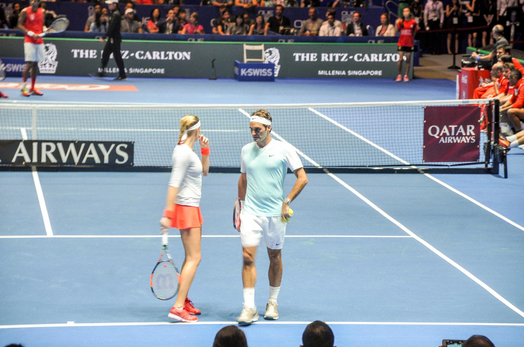 Mixed doubles match between Federer/Mladenovic and Brown/Pliskova