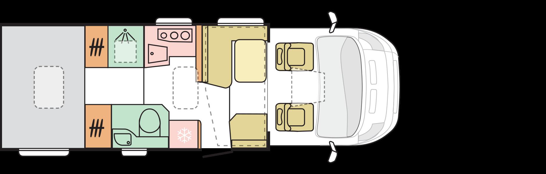 Denní rozložení - 5 míst pro jízdu (4 pohodlně)