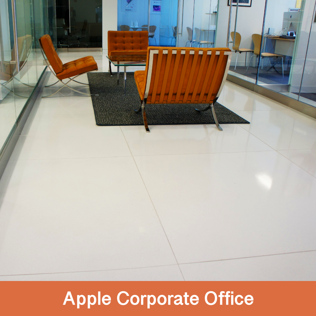 Apple's corporate office, located in Washington DC, was designed by Gensler Architects in San Francisco.  For this project, Terrazzio manufactured a tile with a small particulate to create the unique design.