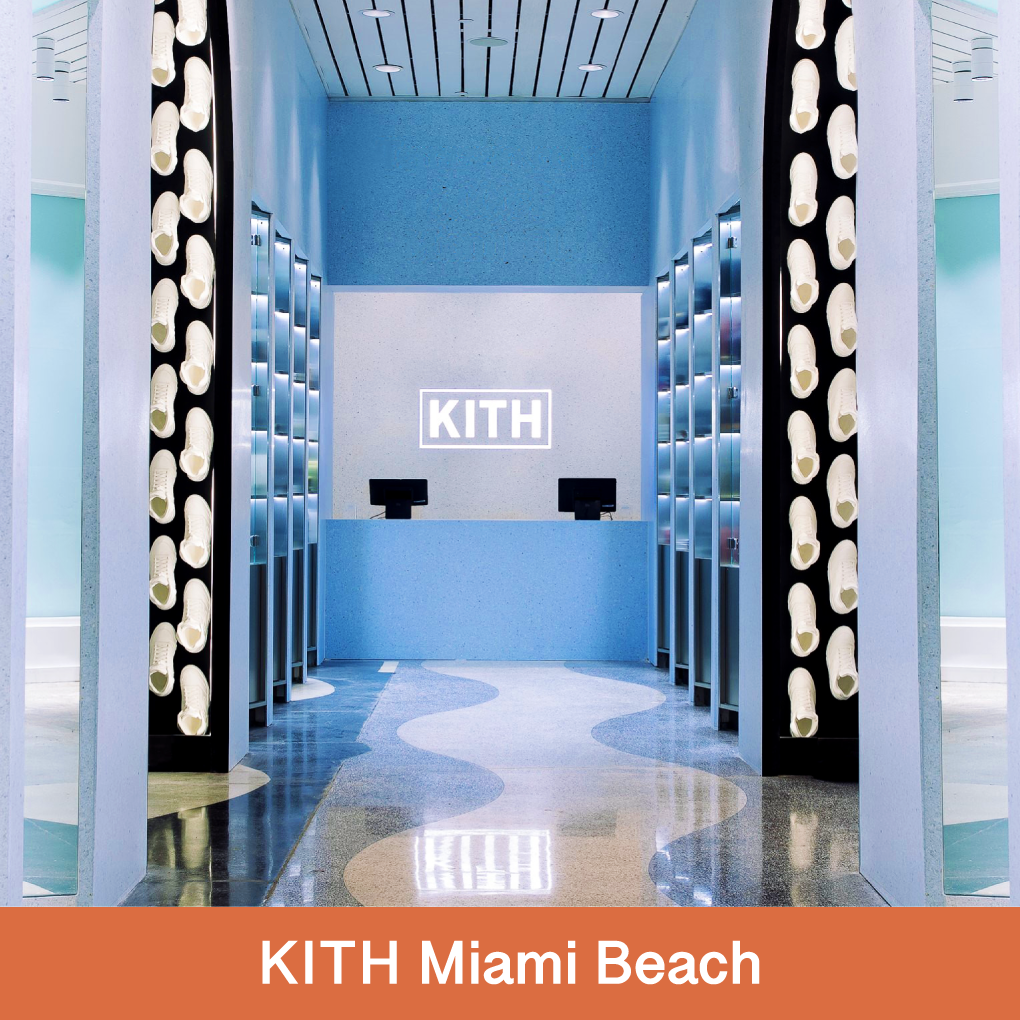 The Miami Beach retail store, designed by Snarkitecture, utilizes our large tiles in four gradient blue hues on the walls, columns, and counters as well as on the floors.