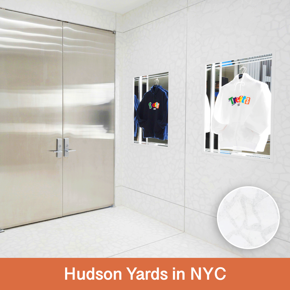 Hudson Yards in New York City was designed by Snarkitecture. For this project, they used our large aggregate Palladian Terrazzio. The custom Terrazzio was used on the walls and the floor.