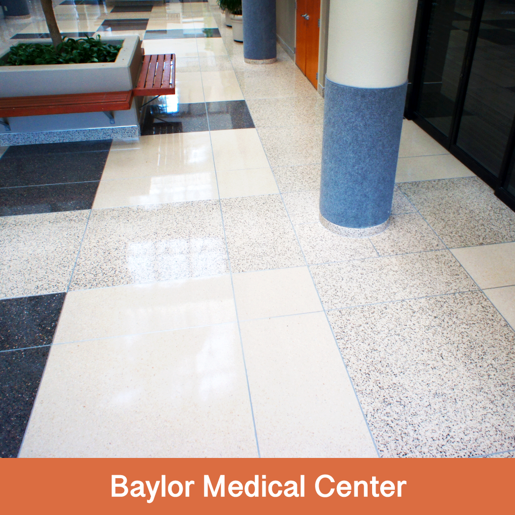 Throughout Baylor Hospital, Terrazzio is installed in lobbies, on stairs, in elevators, on ramps, and column bases.