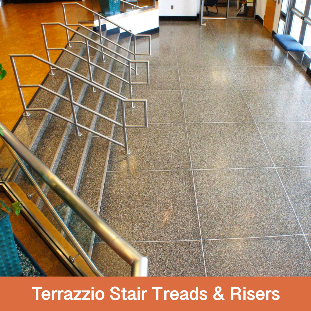 """Terrazzio Stair Treads and Risers are available – they come in 8' long pieces, the treads are 11 ½"""" W and the risers are 7 ½"""" H. They come with nosings, in a stainless steel or a charcoal.    Stair Tread @ 11 ½"""" W x 8' L  Stair Riser @ 7 ½"""" H x 8' L"""