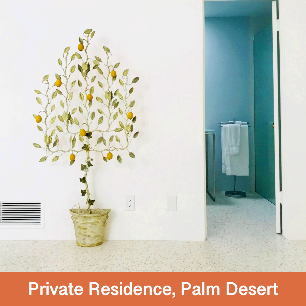 Loyal fan Stephen Drucker and creator of Terrazzio's 575 Desert White, has expressed his tasteful relaxed style in the Modern and Midcentury Modern markets of the Palm Springs area. Stephen let us know strangers knock on his door to see his floors.