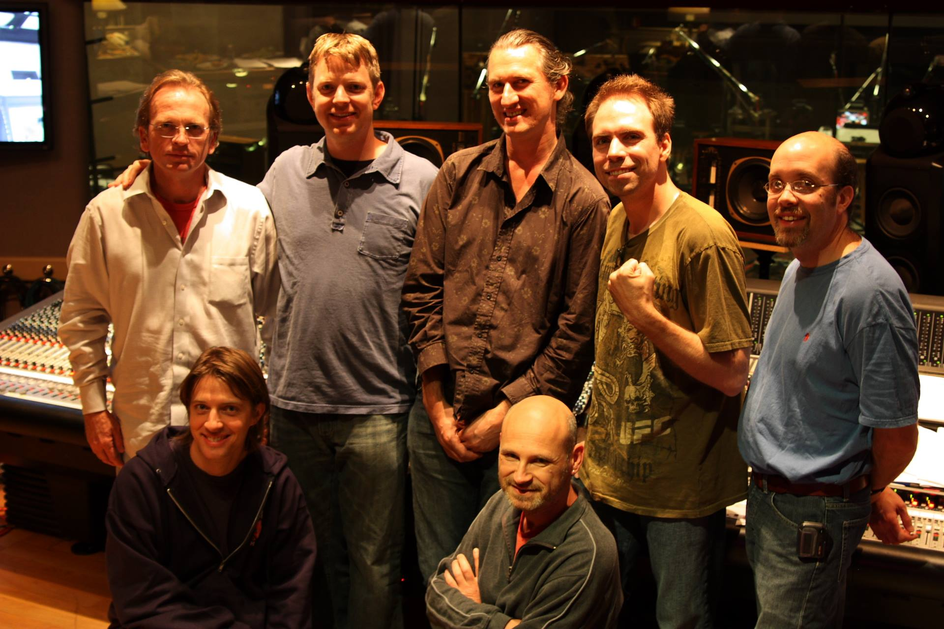 The Red Alert 3 scoring session crew: Top: Jeff Vaughn, Tim Wynn, Nick Laviers, Frank Klepacki, Dann Thompson. Bottom: Phillip White, Andre Zweers. Skywalker Sound, 2008.