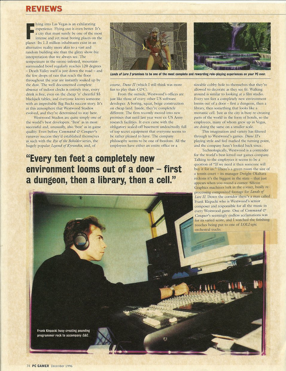PC Gamer article from 1996 - while I was in the midst of composing Lands of Lore 2 and C&C: Red Alert.