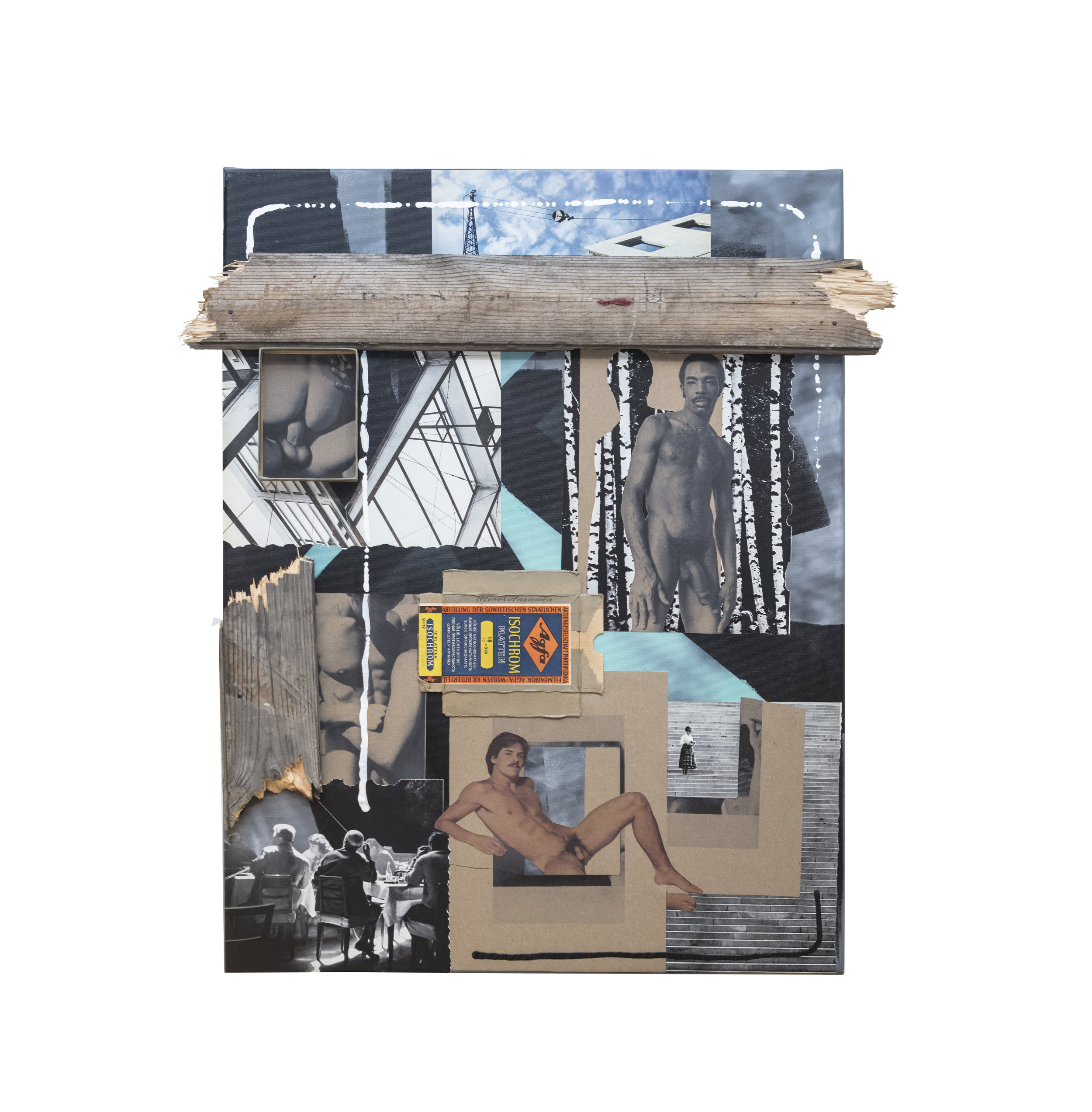 """In my mind…(02)""  - assemblage, paper collage, spray paint, acrylic paint, wood on canvas, signed and titled on the back (2018) [60x80cm]"