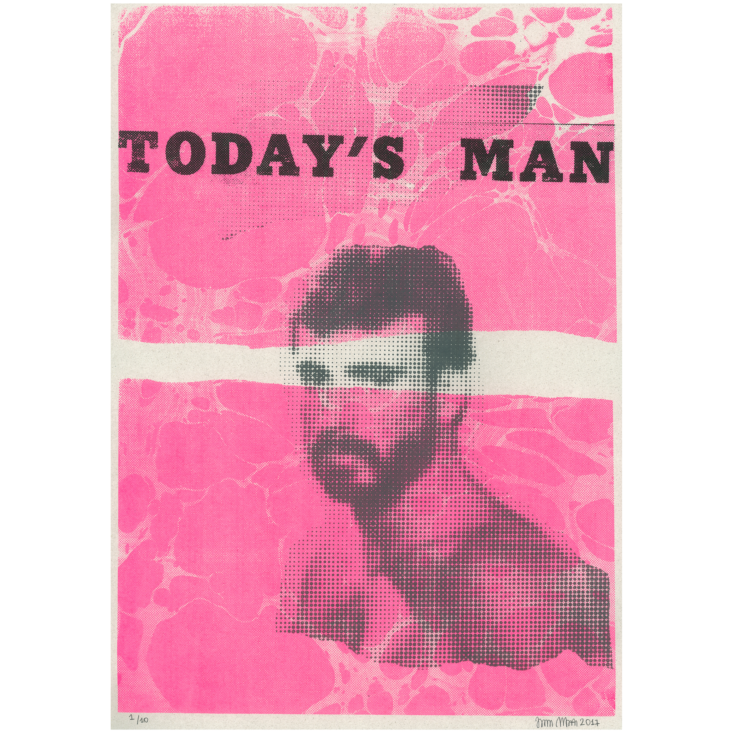 """Today's Man"" - serigraphy, signed and numbered (limited edition of 10 handmade prints) (2017) [29x42cm]"