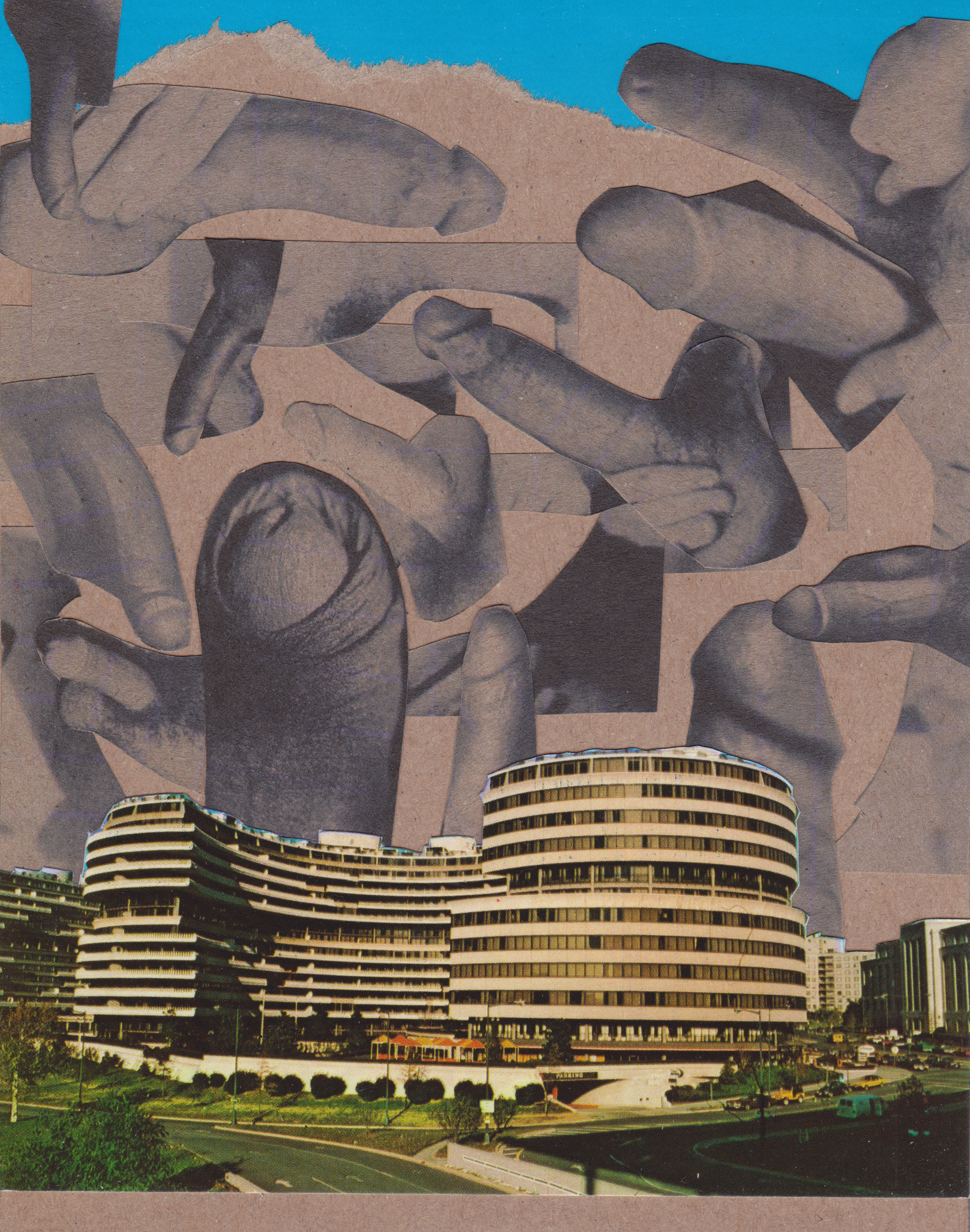 """Cock Watergate Hotel"" - vintage paper collage, signed on the back    [13,7x17,5cm]    (2019)    private collection USA"