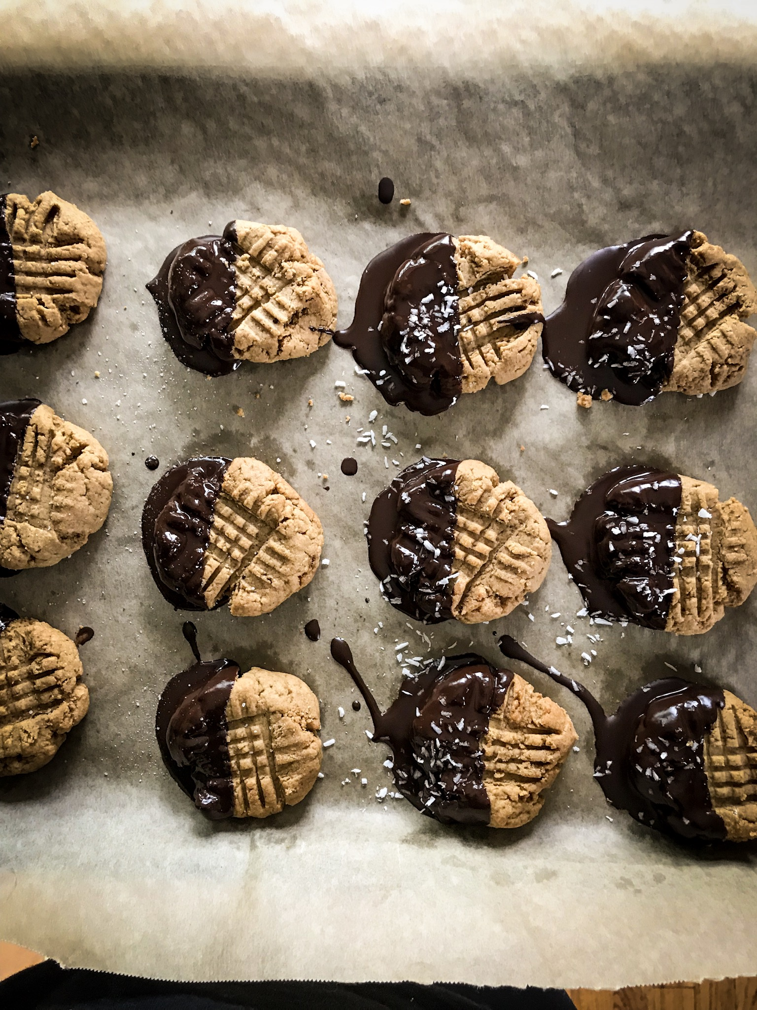 Chocolate Dipped Nut Butter Cookies